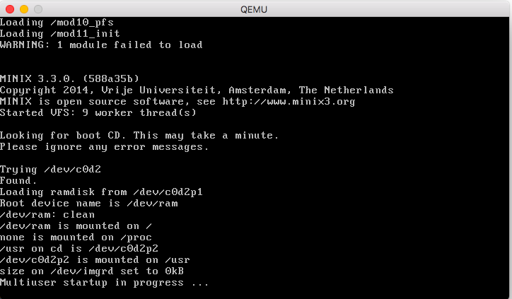Booting Minix3 with quemu | UnixTeacher